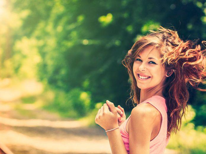 девушка, улыбка, лето