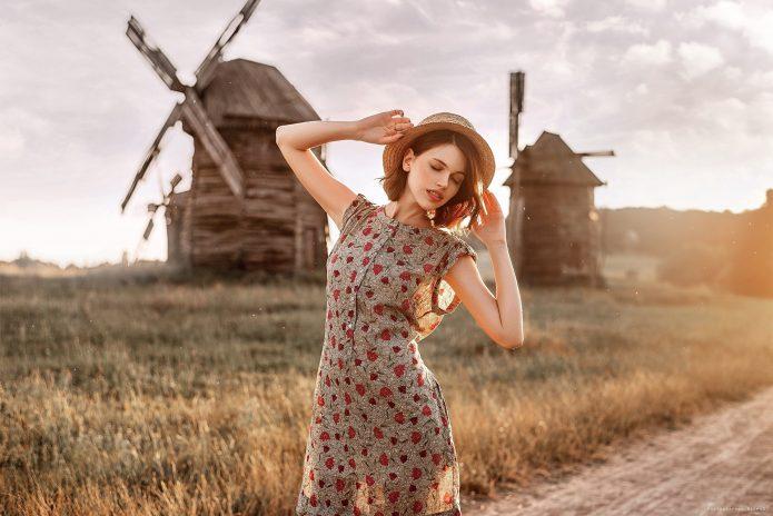 девушка, мельницы, поле
