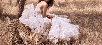 Девушка в пышном платье с леопардом