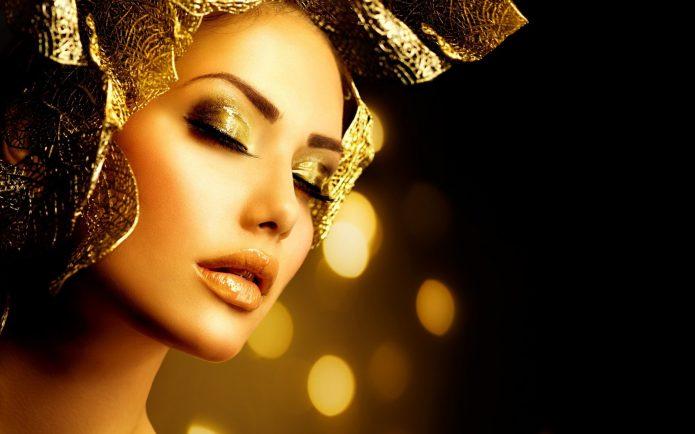 девушка, золотой макияж