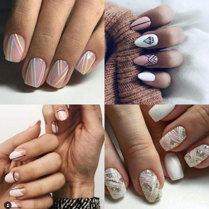 геометрические узоры на ногтях разных форм