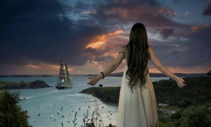 девушка, море, закат, корабль