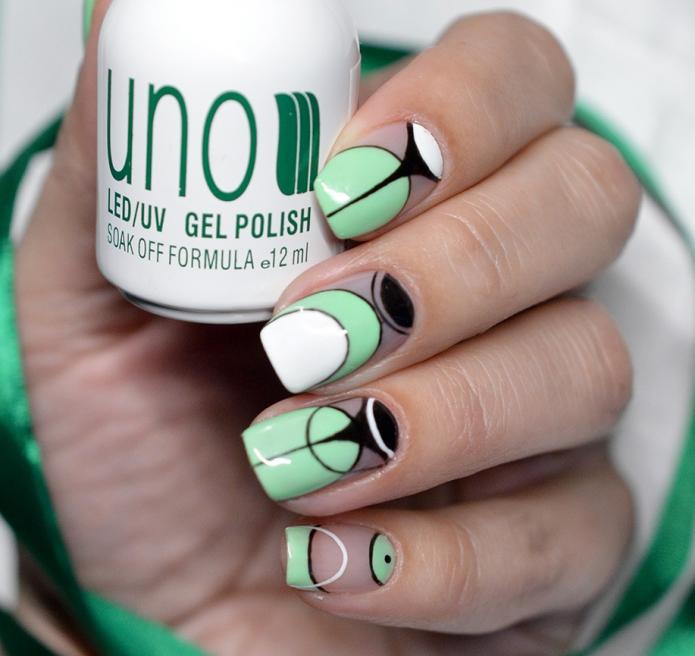 геометрия на белом и зеленом цвете