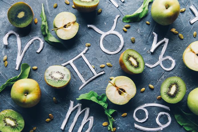 киви, яблоки, зодиакальные символы