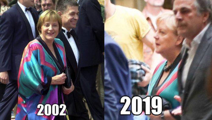 Ангела Меркель вышла в свет в наряде 20-летней давности