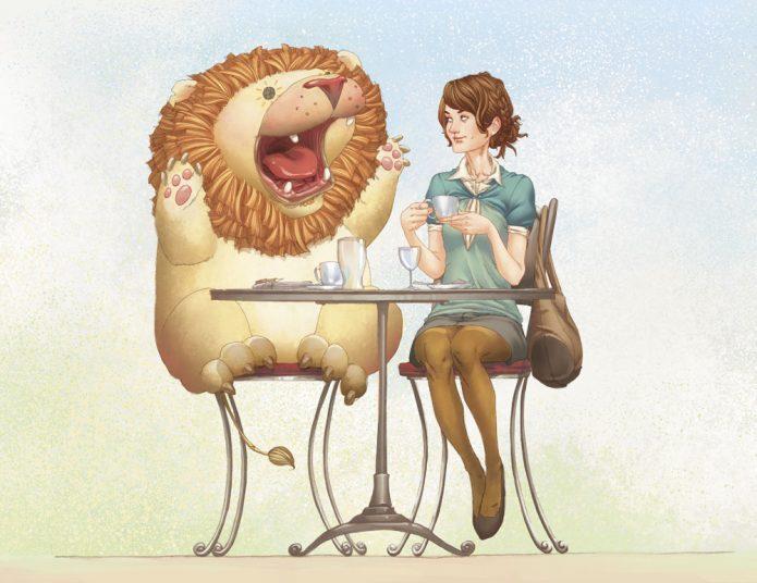 Девушка и лев за столом