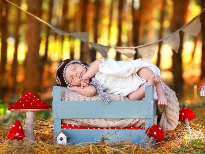спящий малыш, игрушечные мухоморы, осень