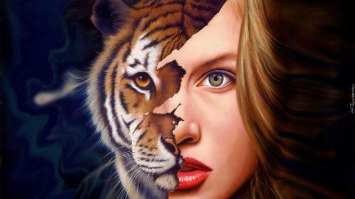 Из-под женского лица проступает тигриная морда