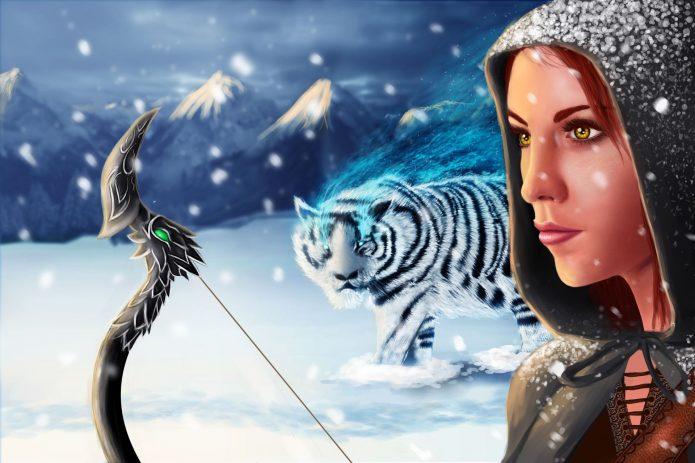 Фэнтезийный рисунок лучницы с тигром
