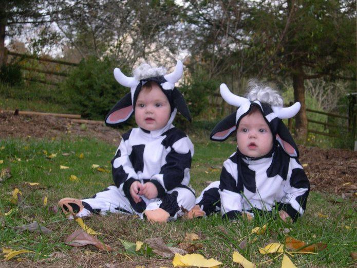 Близнецы в костюмах коров