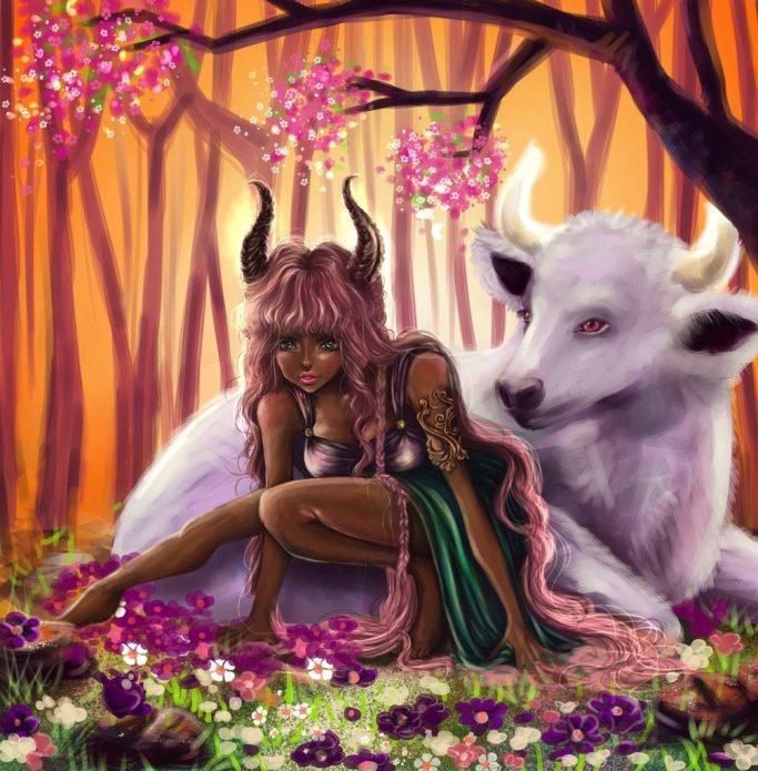 Фэнтезийный рисунок девушки с рогами