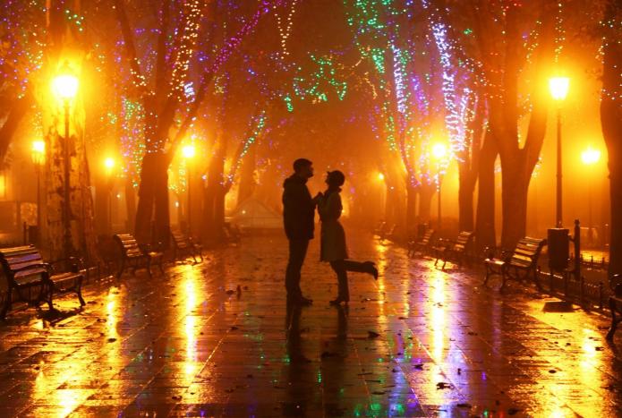 влюблённые, ночной город, осень