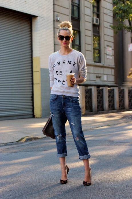 Образ со свитером и джинсами для прогулки