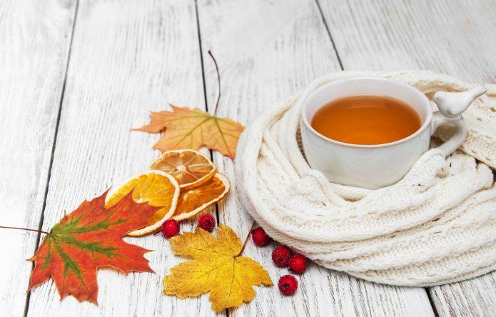 шарф, чашка чая, осень, дольки лимона