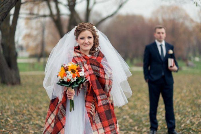 невеста, жених, плед, осень