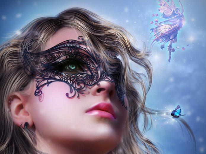 девушка в маске, фантазии