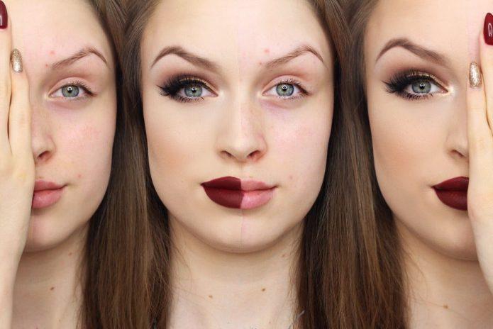 лицо девушки с макияжем и без него