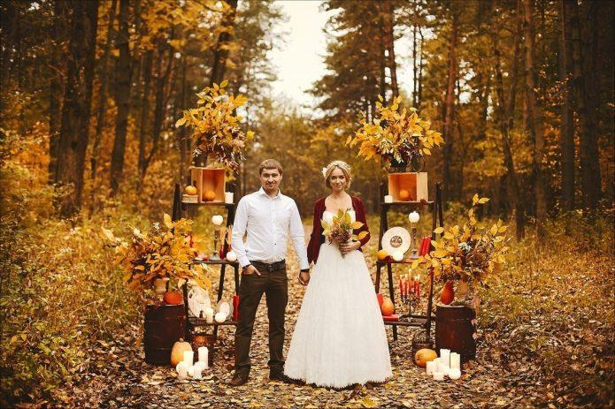 молодожёны, осенняя свадьба