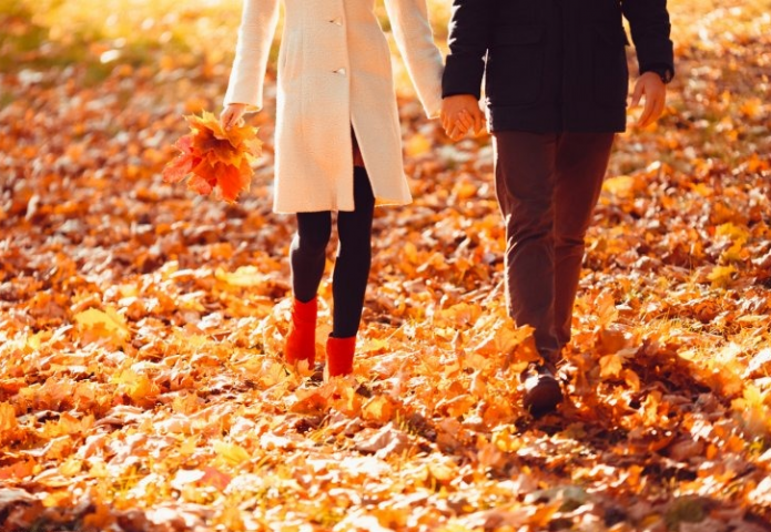 влюблённые, осенняя прогулка