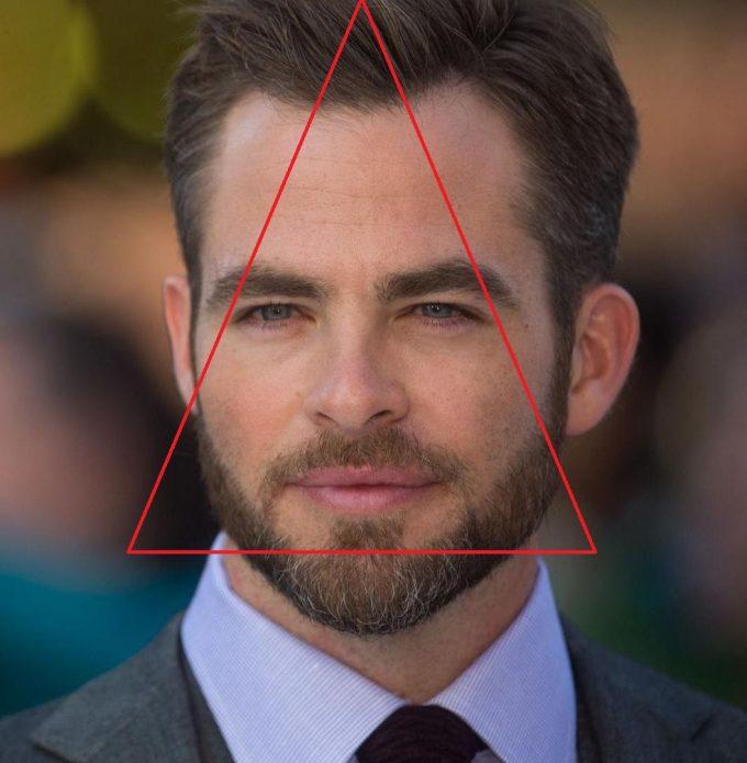 Треугольная форма головы Криса Пайна