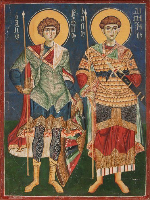 Фреска с изображением святых великомучеников Димитрия Солунского и Георгия Победоносца