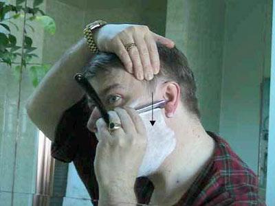 Бритьё опасной бритвой (правая щека)