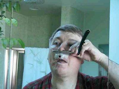 Бритьё опасной бритвой (верхняя губа)