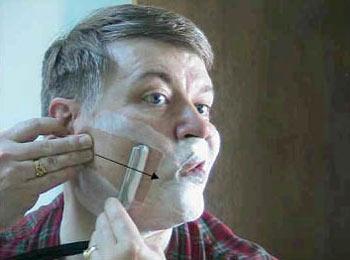 Бритьё опасной бритвой (левая щека)