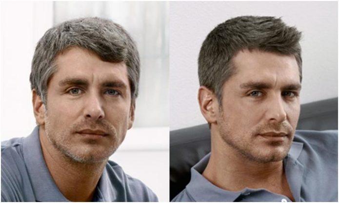 Мужчина до и после окрашивания седины