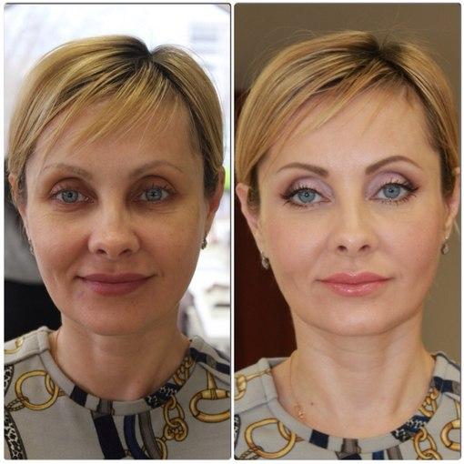 Лицо женщины в 40 лет до и после нанесения косметики