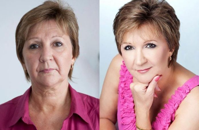Женское лицо до и после профессионального мейкапа