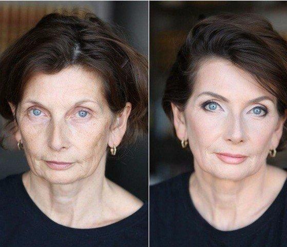 Лицо шестидесятилетней женщины до и после мейкапа
