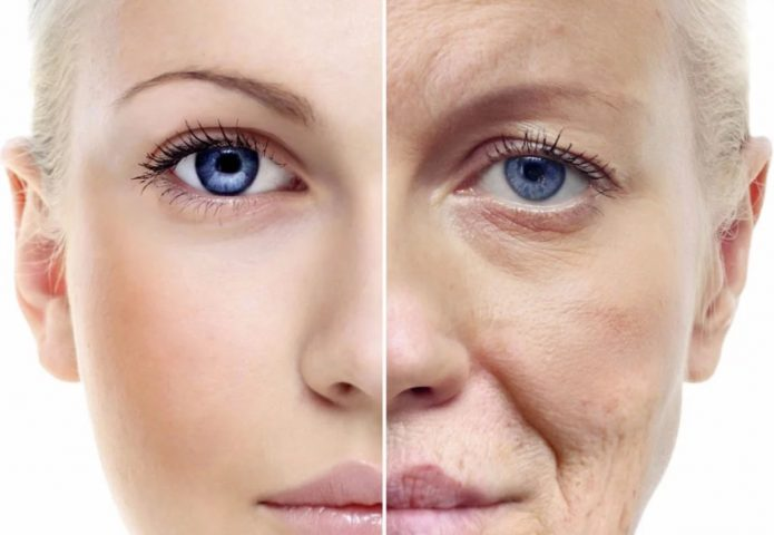 Лицо, разделённое на старую и молодую половины