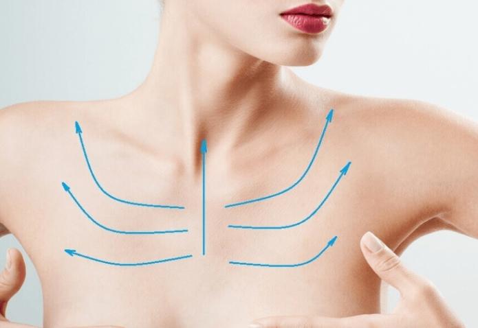 Линии нанесения масок на шею и зону декольте