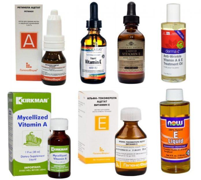 Формы выпуска жидкого витамина A и E