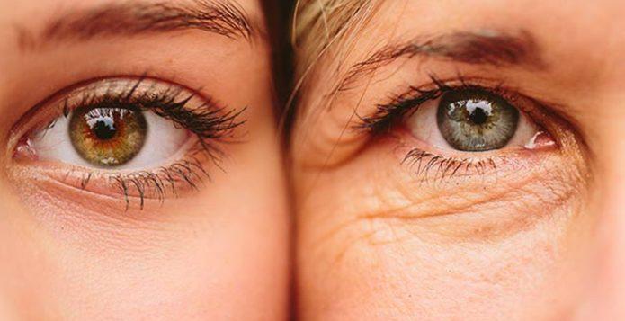 Глаза молодой девушки и женщины в возрасте