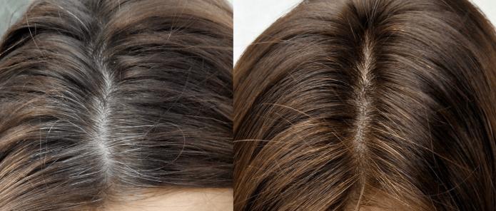 Волосы до и после окрашивания кофе