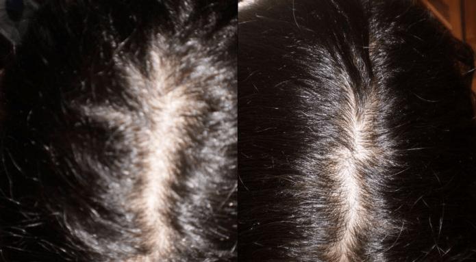 Волосы до и после окрашивания корой дуба