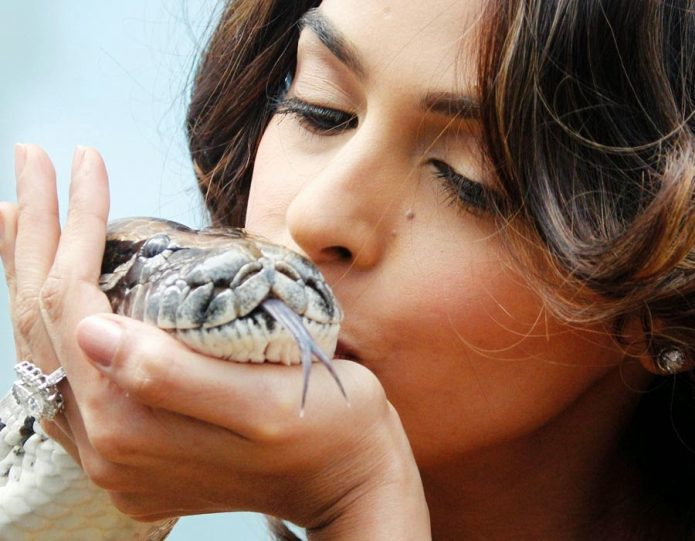 Девушка целует змею