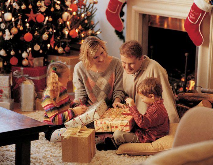 семья, новый год, ёлка, подарки