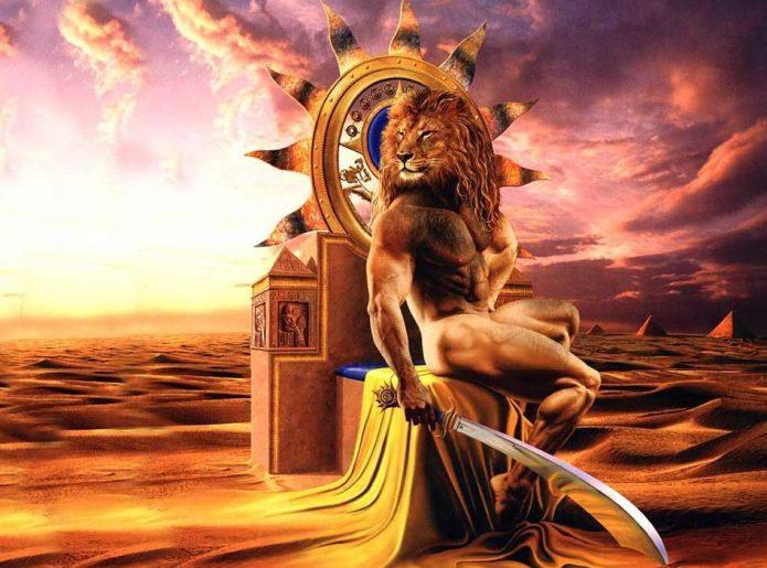 Фэнтезийный рисунок мужчины с головой льва
