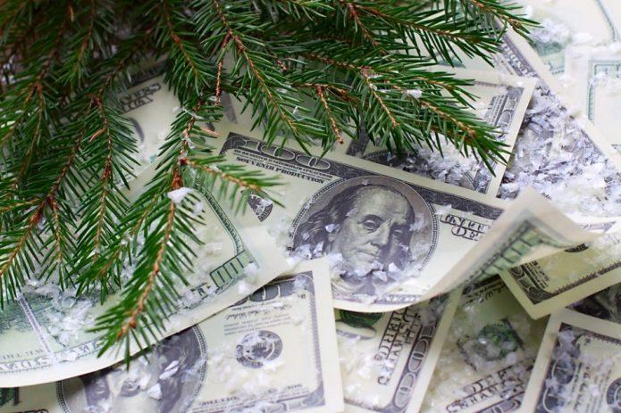 еловая веточка, доллары