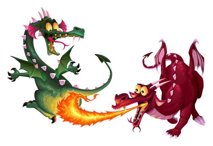 Смешные дерущиеся драконы