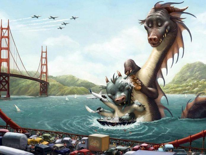 Дракониха моет дракончика в реке