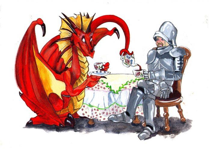 Дракон и рыцарь пьют чай