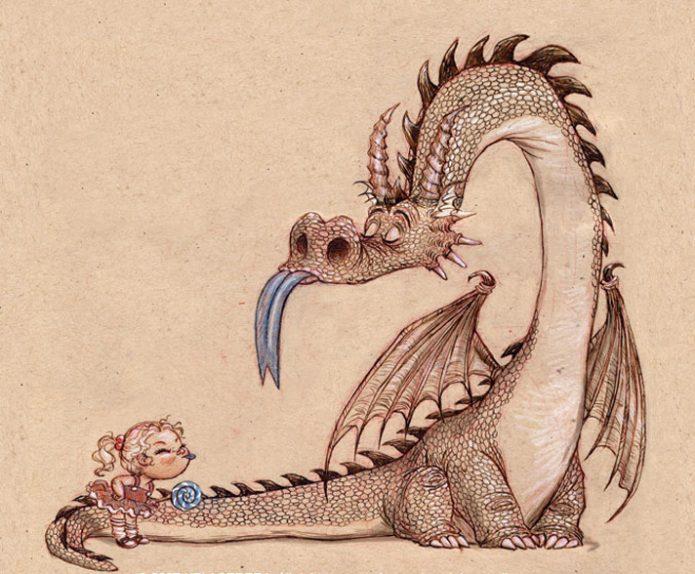 Девочка и дракон ссорятся