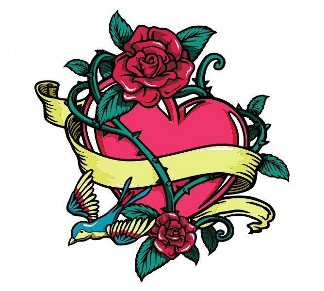эскиз тату сердце и роза
