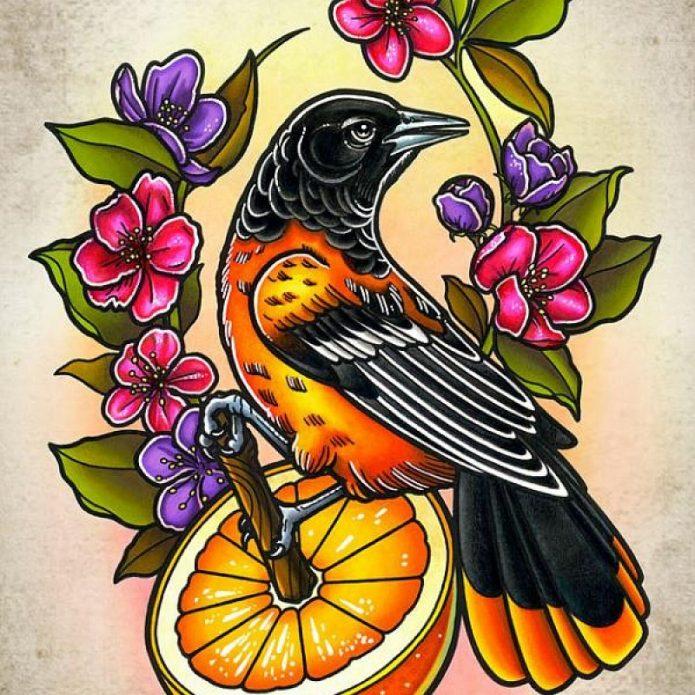 эскиз тату птица, цветы, новая школа
