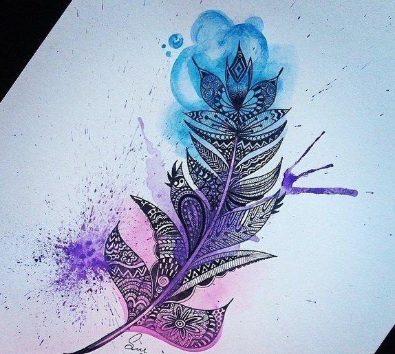 акварельный тату-эскиз перо