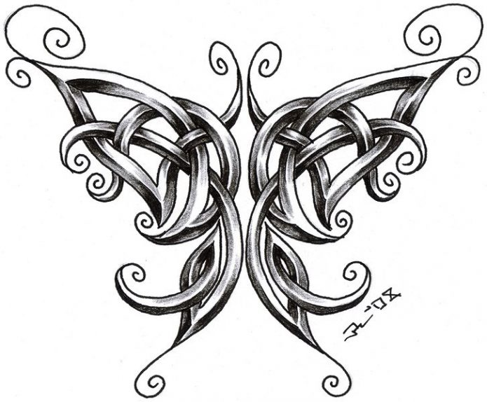 кельтская бабочка эскиз тату